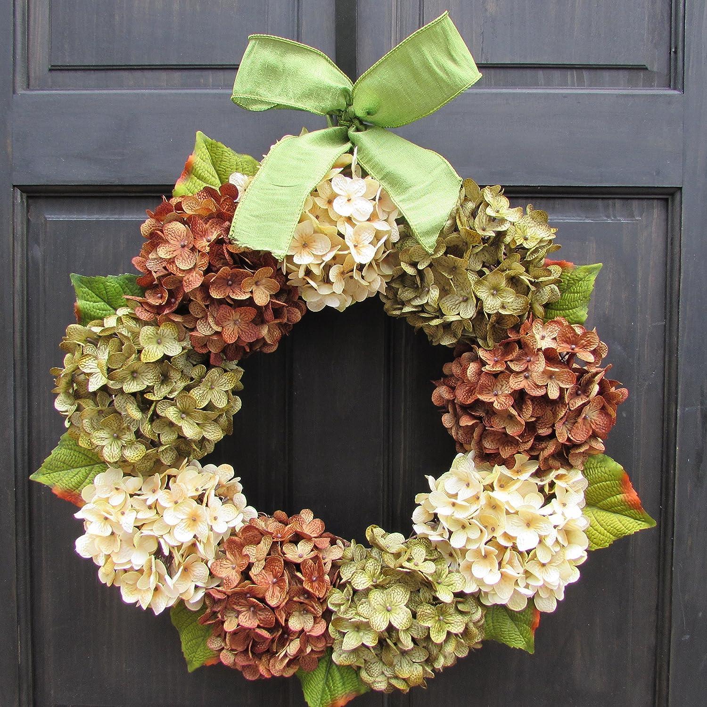 "Handmade 22"" Hydrangea Wreath Front Door Decor Summer Spring Fall Year Round"