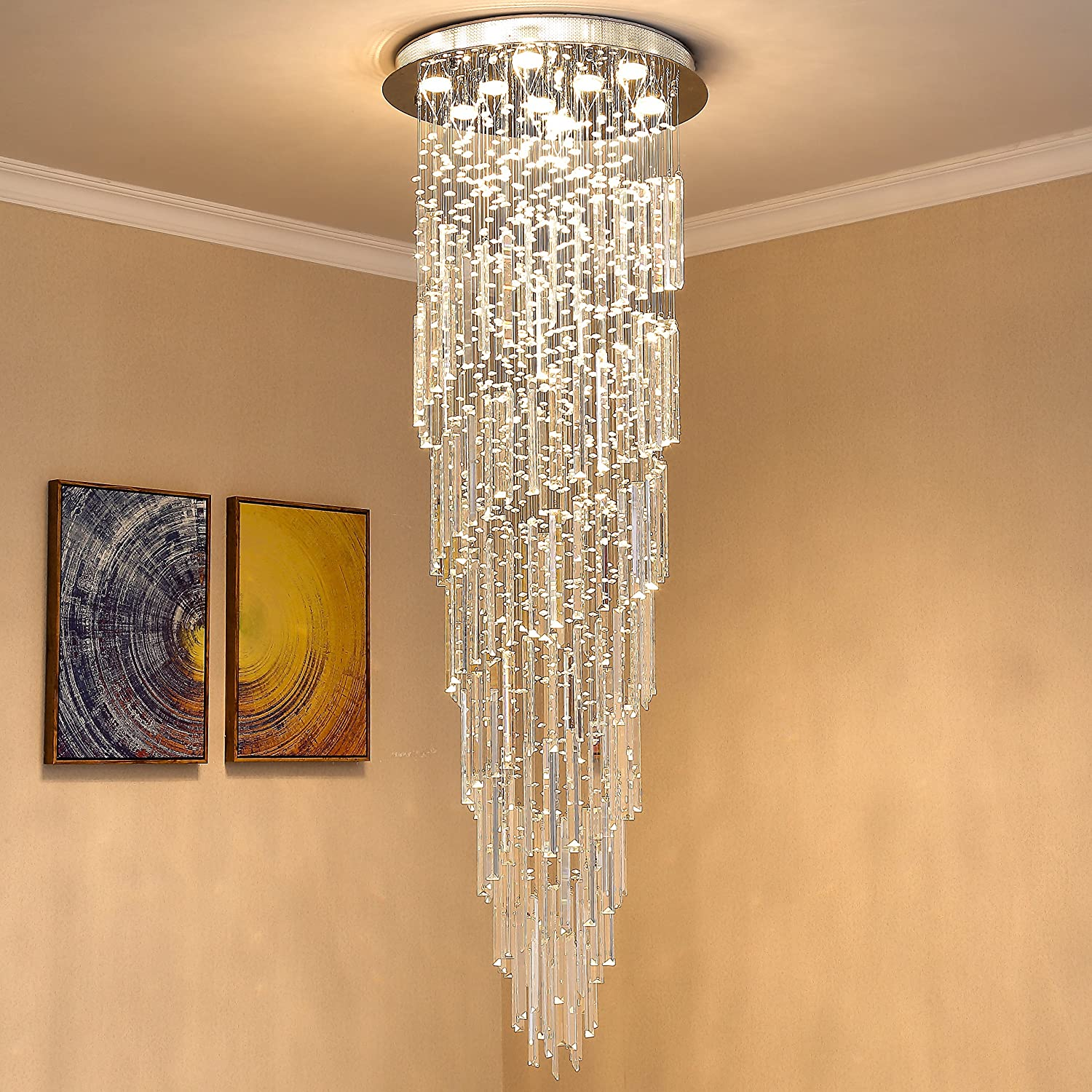 Saint mossi modern k9 crystal spral raindrop chandelier lighting flush mount led ceiling light fixture pendant lamp for dining room bathroom bedroom