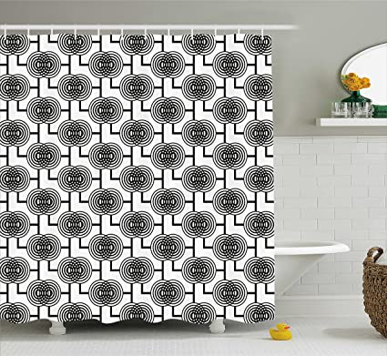 Ambesonne Geometric Shower Curtain Black And White Abstract Circular Pattern Monochrome Modern Tile Illustration