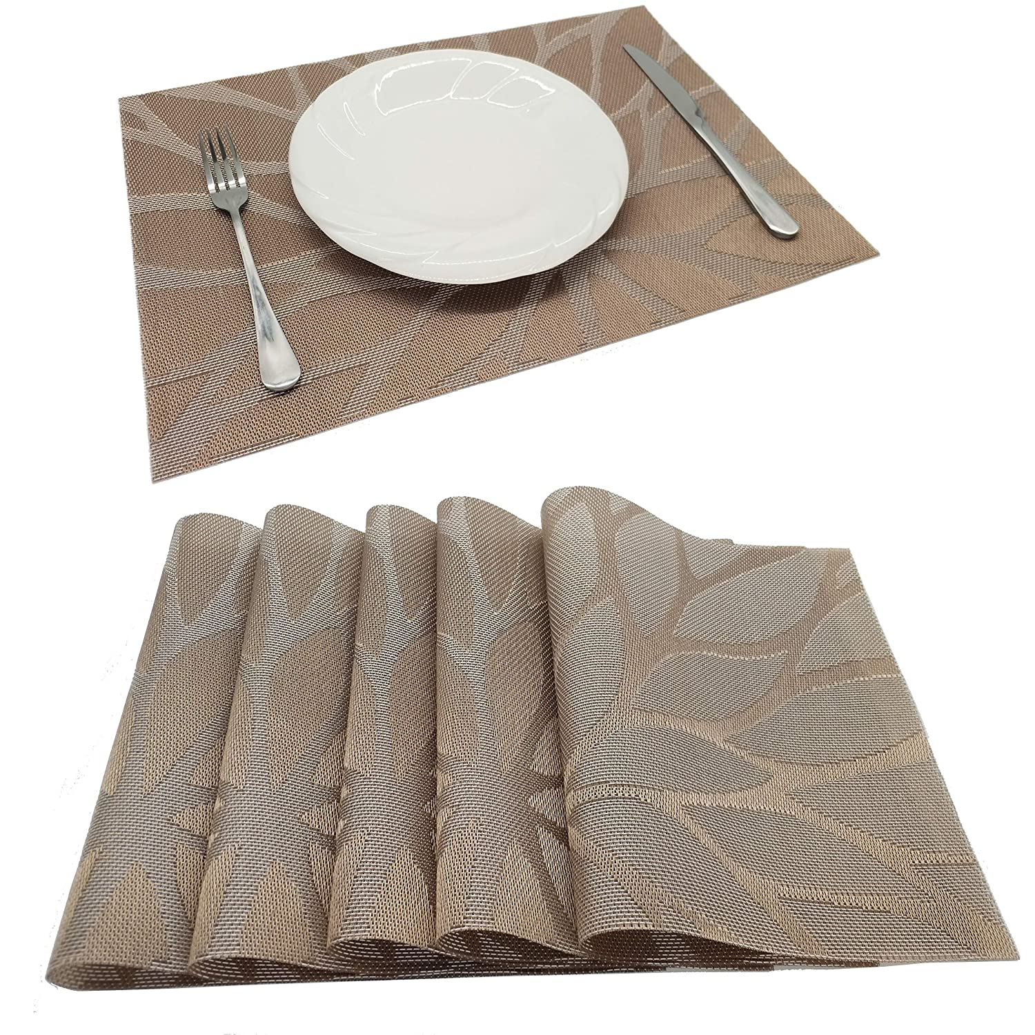 Tennove Placemats Set of 6, Woven Vinyl Table Mats PVC Placemats Kitchen Dining Table Decoration (Flower-Brown)
