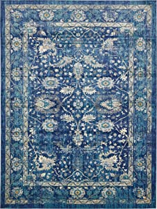 Unique Loom Oslo Collection Traditional Botanical Navy Blue Area Rug (10' x 13')