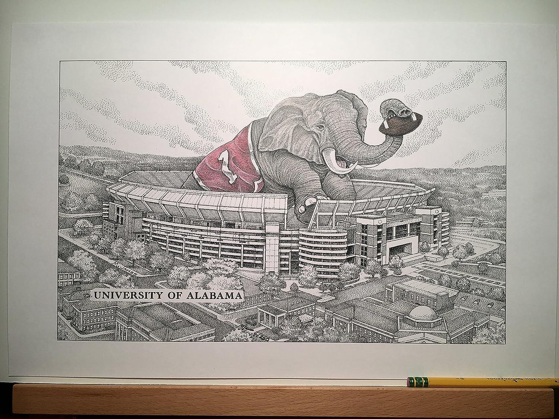 Alabama football stadium with elephant 11x17 pen and ink print from hand-drawn original