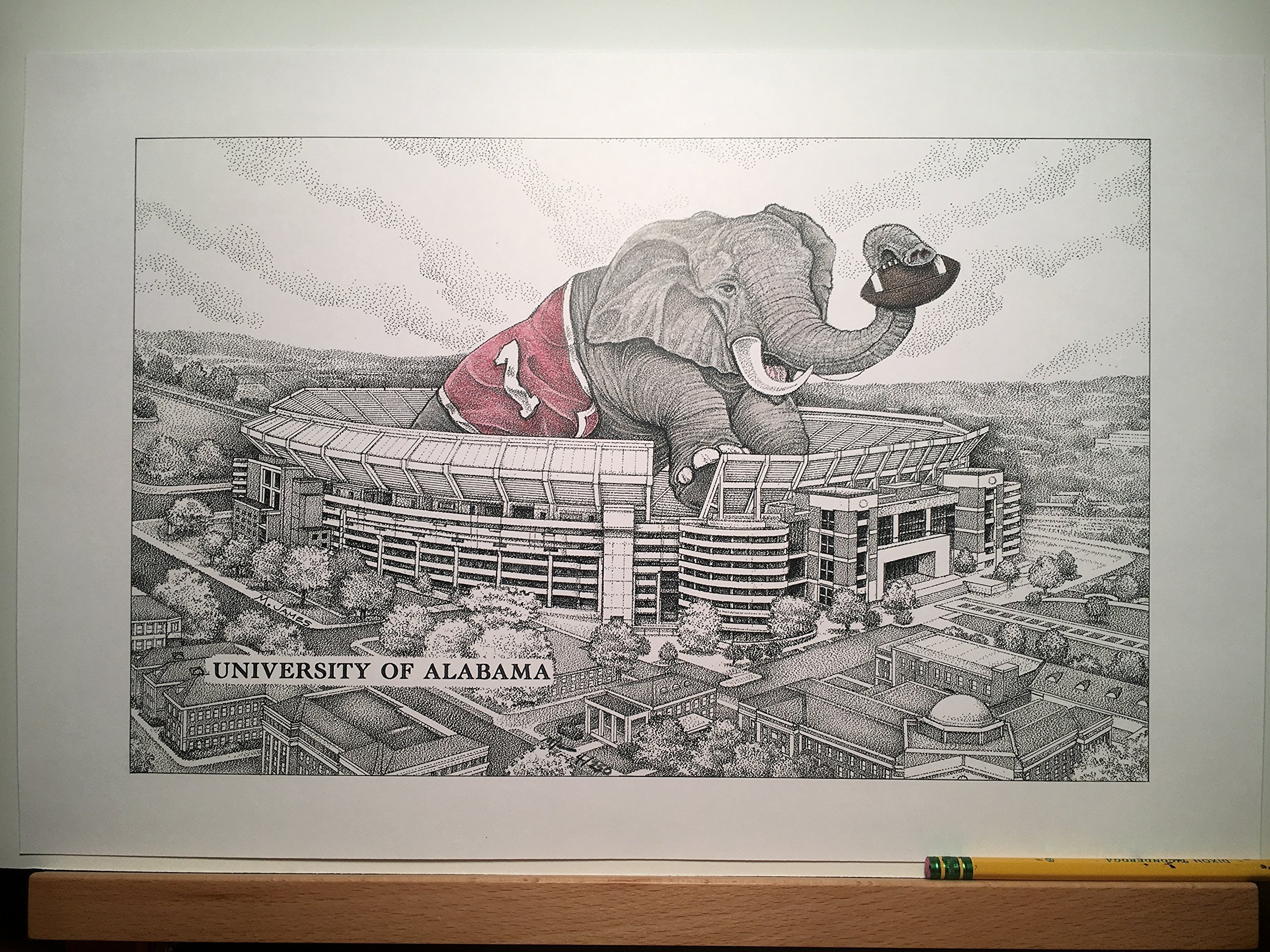 Alabama football stadium with elephant 11''x17'' pen and ink print from hand-drawn original by Campus Scenes