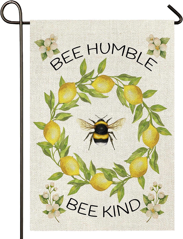 Atenia Bee Humble and Kind Garden Burlap Flag, Double Sided Bee Wreath Sign Garden Outdoor Yard Flags for Summer Decor (Garden Size - 12.5X18)