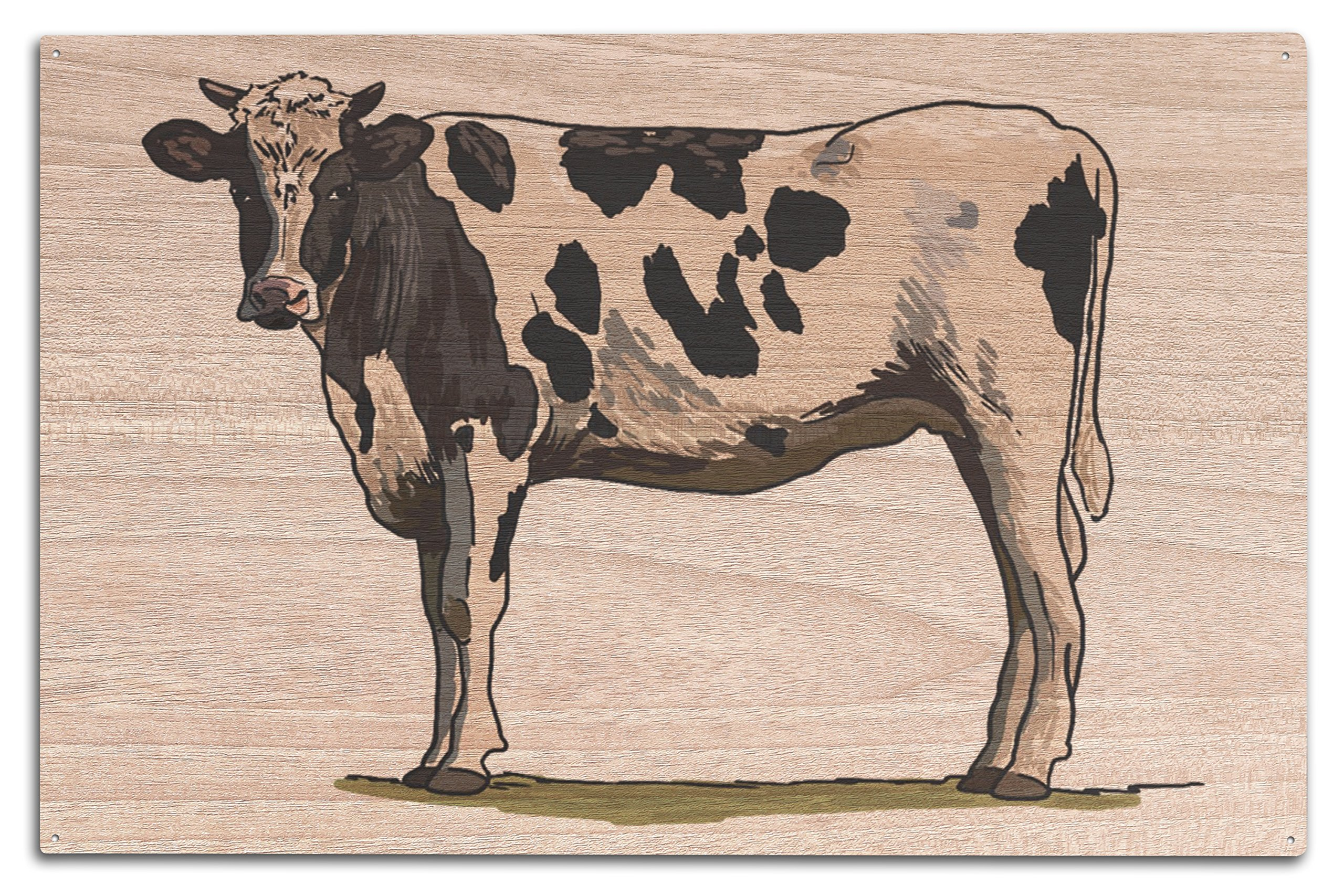 Lantern Press Holstein Cow - Icon (10x15 Wood Wall Sign, Wall Decor Ready to Hang)