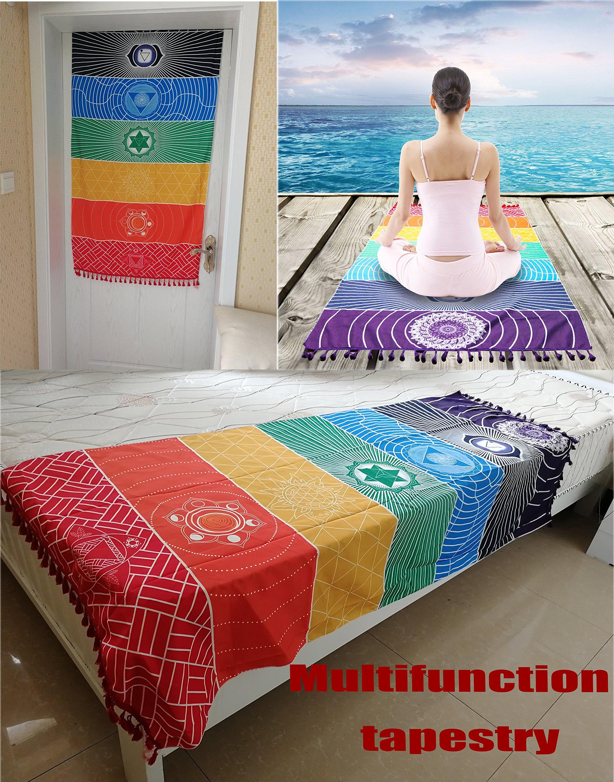 Neasyth 7 Chakra Tapestry, Meditation Mexico Chakras Tassel Yoga Rug Striped Shawl Towel Beach Towels Mat 59 in