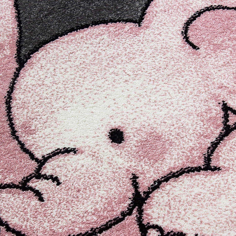 Tapis rectangulaire Rose Bonbon Chambre denfant Blanc Gris 80 x 150 cm Chambre de Jeu Rose SIMPEX Tapis pour Enfant Motif /él/éphant /étoiles Chambre de b/éb/é