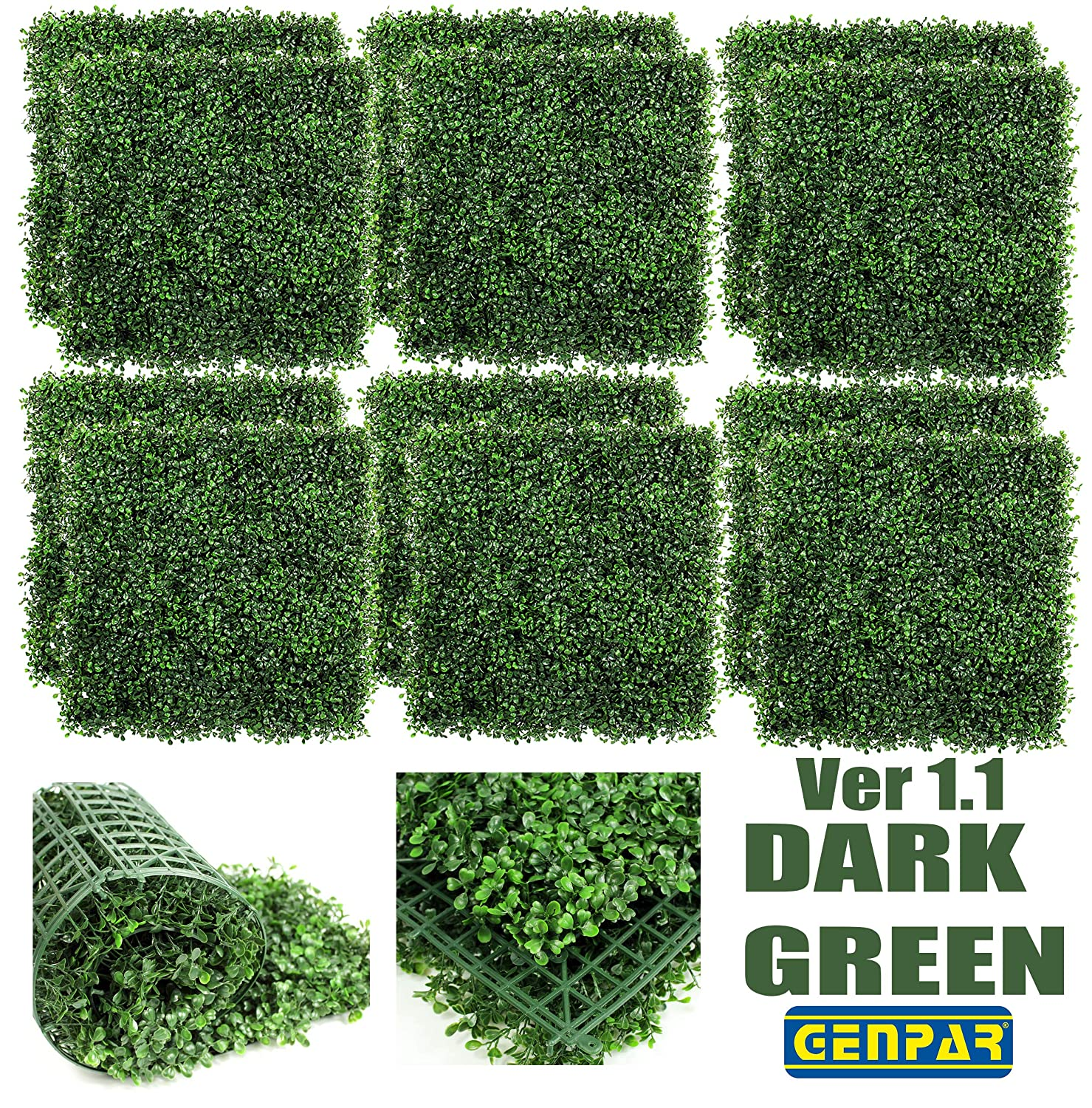 """GENPAR Artificial Boxwood Panels 12 Pieces 20"""" x 20"""" Cover 33 SQ FT Topiary Hedge Plant UV Protected Privacy Screen Outdoor Indoor FAUX Garden Fence Backyard Home Decor Greenery Walls (NEW Dark Green)"""