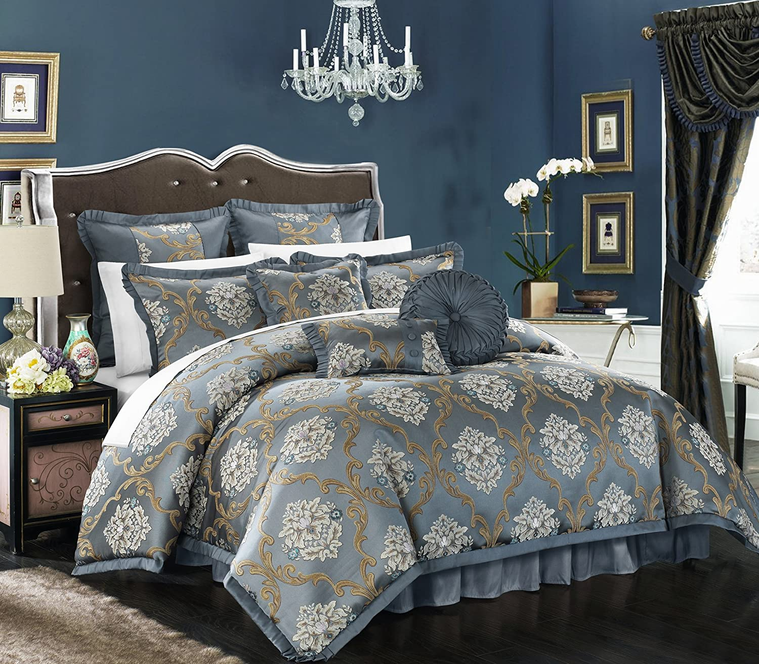 hic Home 9 Piece Aubrey Decorator Upholstery Quality Jacquard Scroll Fabric Bedroom Comforter Set