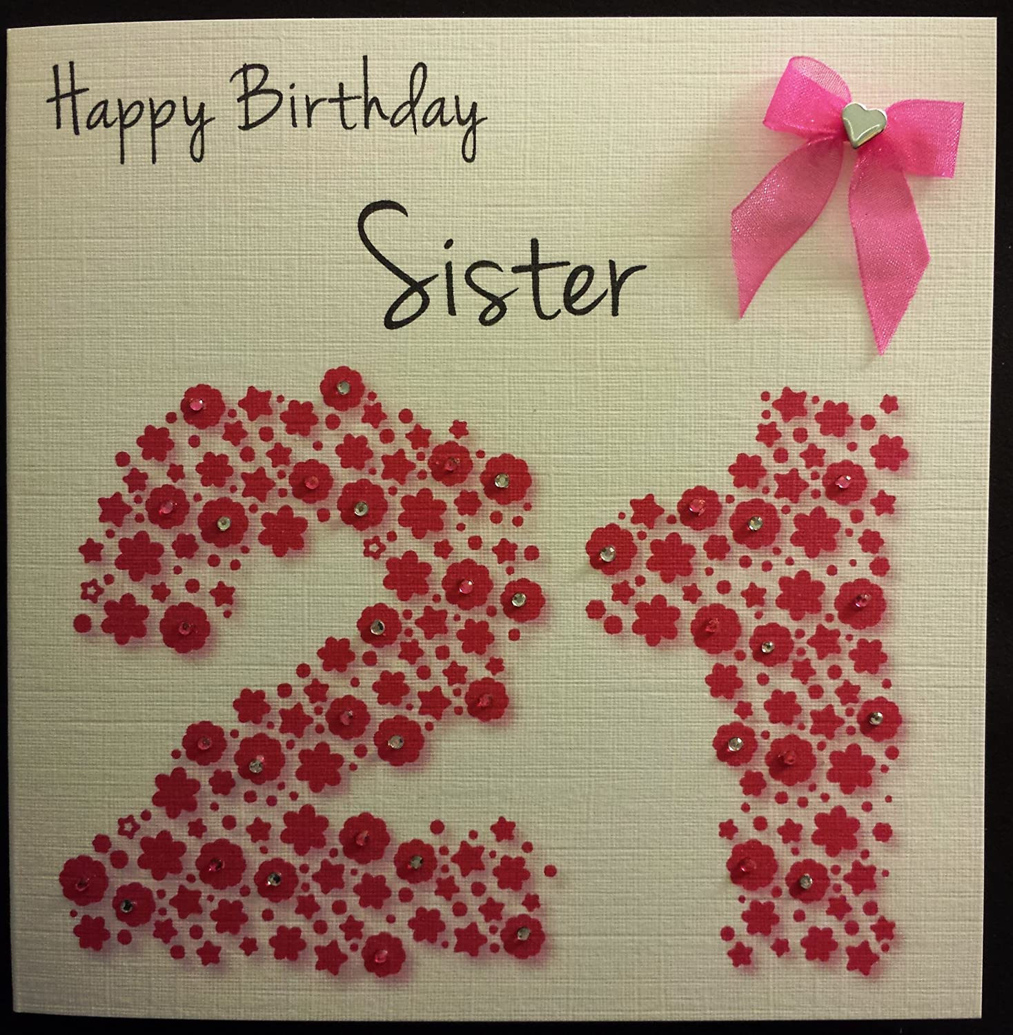 Happy Birthday Card Sister 21st Hot Pink Flowerbed Handmade – Sister 21st Birthday Card