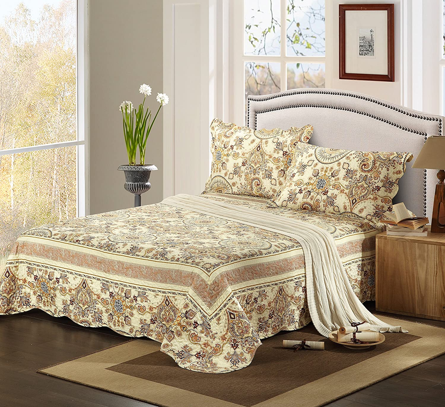 Tache Home Fashion SD3198-Queen 3 Piece Summer Gold Royal Medallion Reversible Bedspread Quilt Set, Queen