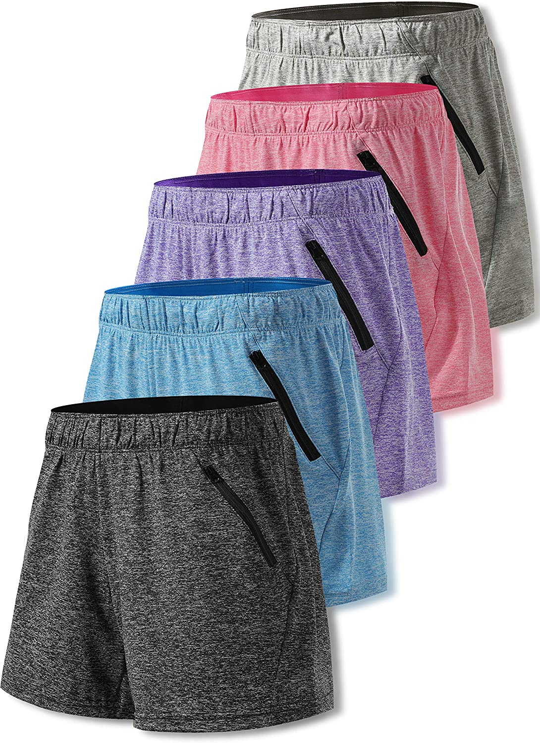 Liberty Imports Pack of 5 Women's Quick Dry Heather Yoga Training Shorts with Zipper Pockets