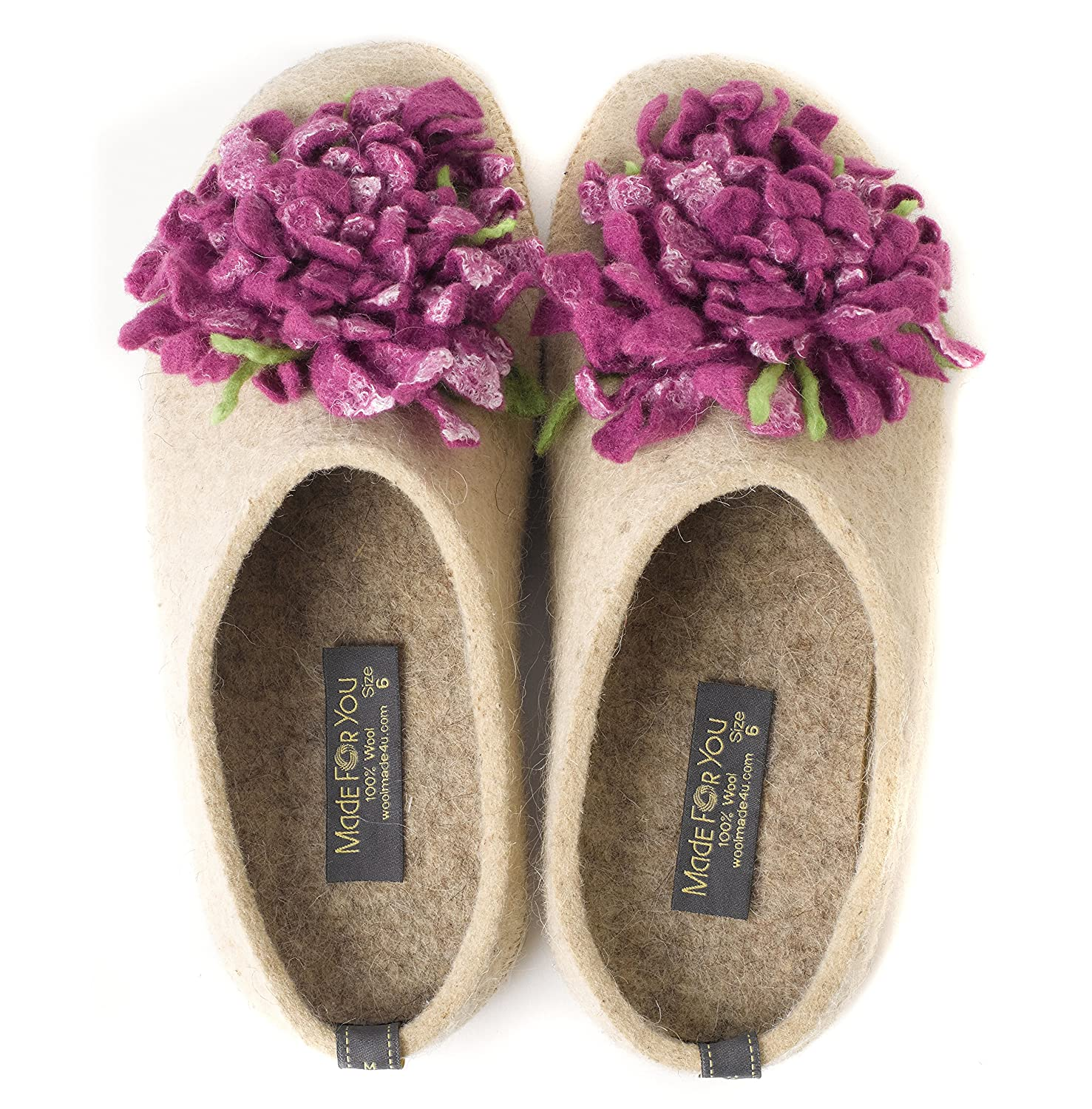 fb9f5939eda7f Made For You Women's Wool Slippers with Handmade Chrysanthemum Flower,  Non-Slip Rubber Sole and Arch Support Insole