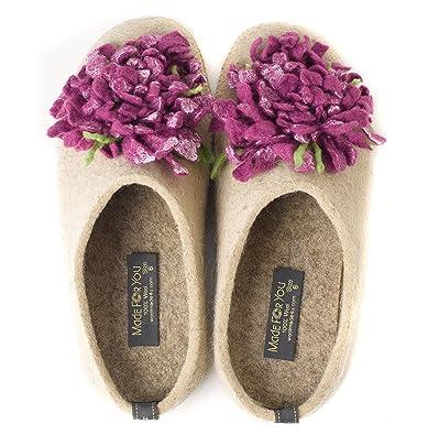 eca93599e3e Made For You Women s Wool Slippers with Handmade Chrysanthemum Flower