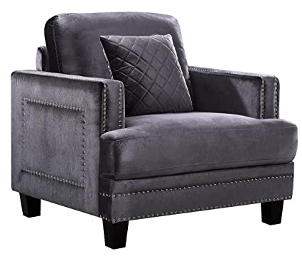 Meridian Furniture Ferrara Velvet Nailhead Chair, Grey