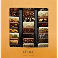"""chocri """"Weltreise"""" - 24 Schokoladen-Täfelchen in einer Geschenkbox - handbestreut mit Zutaten aus verschiedenen Regionen der Welt - Fairtrade-Kakao - perfektes Geschenk für Frauen und Männer, für die Mama und für die Eltern, zur Hochzeit oder zum Geburtstag - 250g"""