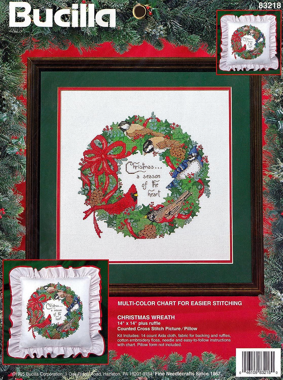 Amazon Bucilla Christmas Wreath Cross Stitch Picture Or