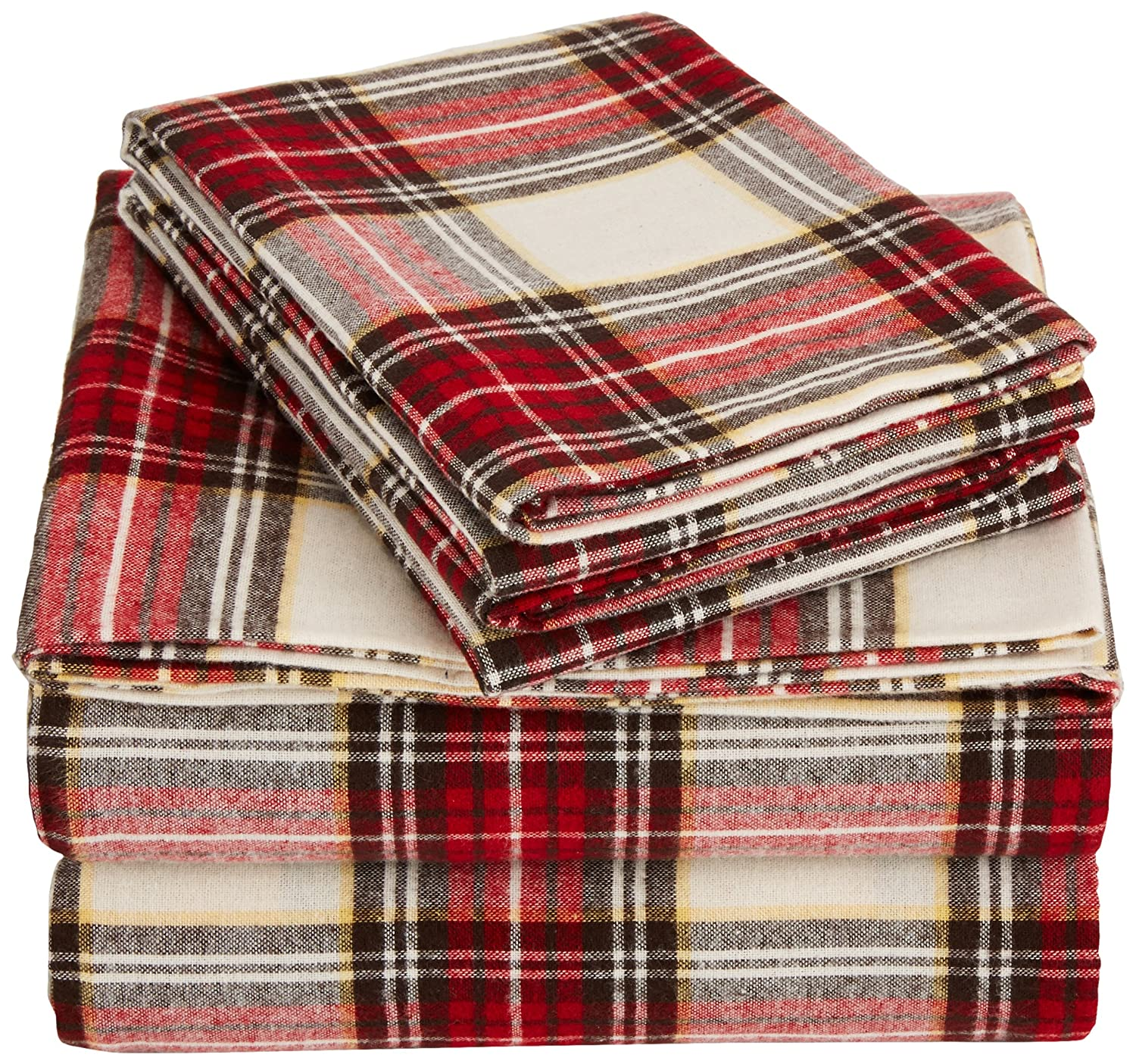 AmazonBasics Yarn-Dyed Lightweight Flannel Sheet Set - King, Cream/Red Plaid
