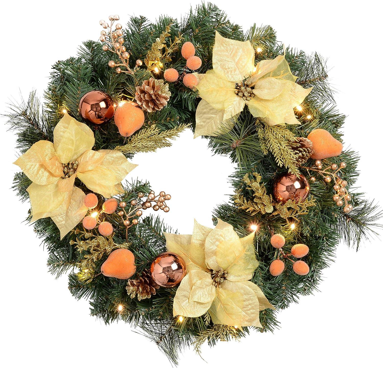 WeRChristmas 60 cm Couleur Naturelle de pin et Baies Couronne avec d/écoration de No/ël illumin/é avec 20 LED Blanc Froid