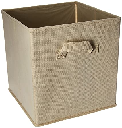 Closet Organizer   Fabric Storage Basket Cubes Bins   6 Beige Cubeicals  Containers Drawers