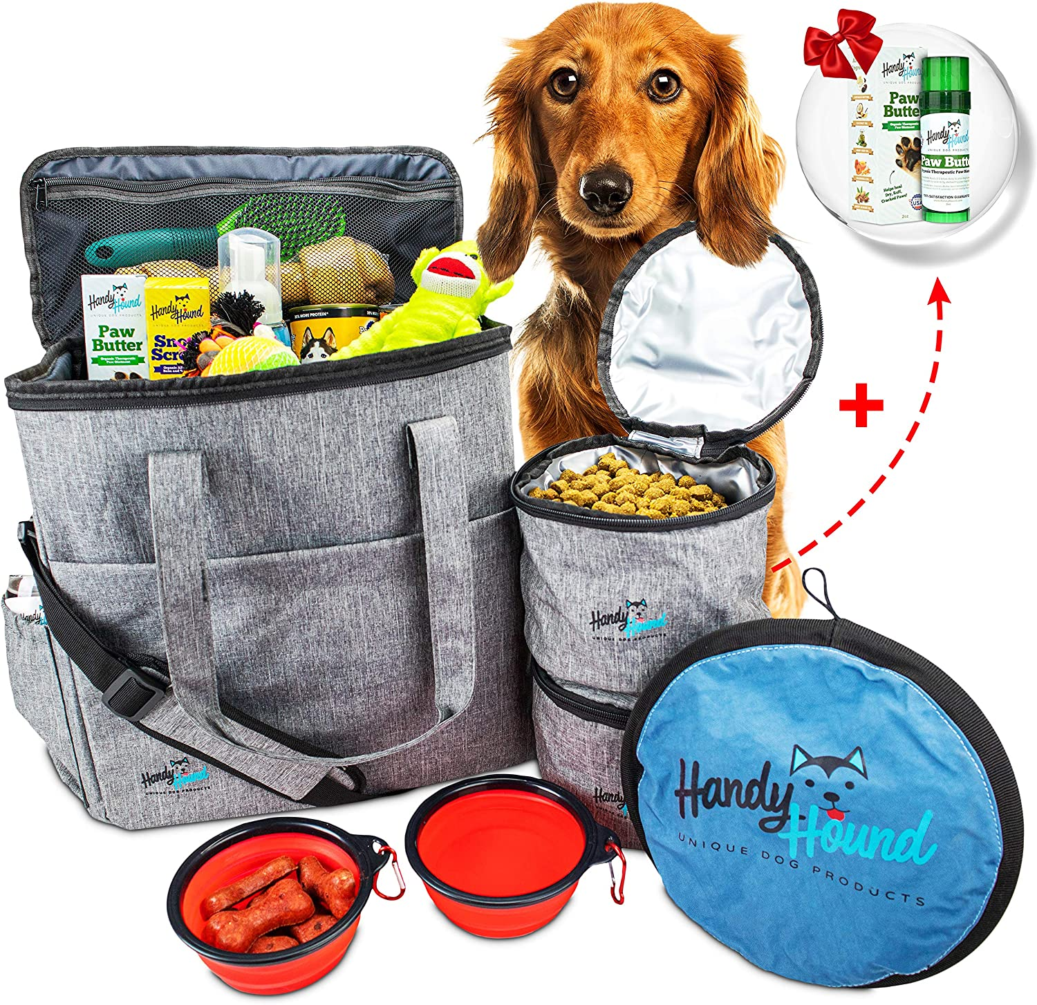 Pet Travel Bag - Easy Travel with Our Dog Travel Bag – Includes Paw Butter, Frisbee, Airline Approved Dog Travel Bag, 2 Collapsible Food-Water Bowls, 2 Food Travel Bags - Perfect for Dog, Cat