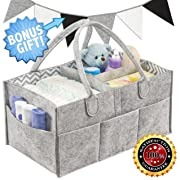 Baby Diaper Caddy Organizer | Baby Shower Gift Basket Tote for Boys Girls | Nursery Storage Bin For Changing Table | Newborn Registry Must Have