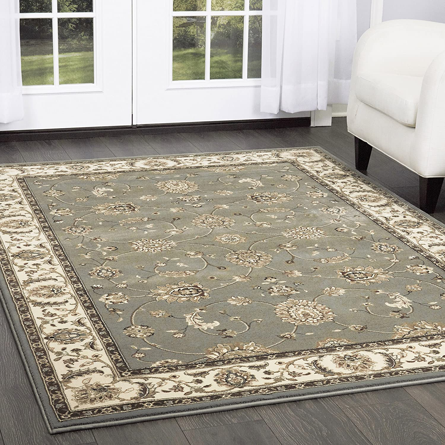 Amazon Com Triumph Fawn Runner Area Rug 2 2 X7 6 Border Gray Beige Furniture Decor