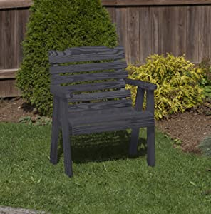 Amish Heavy Duty 800 Lb Classic Park Style Pressure Treated Garden Patio Outdoor Bench Chair 2 FEET Black-Made in USA