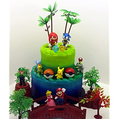 Video Gaming Themed Birthday Cake Topper Set Featuring Random SONIC Figures and Random MARIO BROTHERS Figures and Other Iconic Gaming Characters: Toys & Games