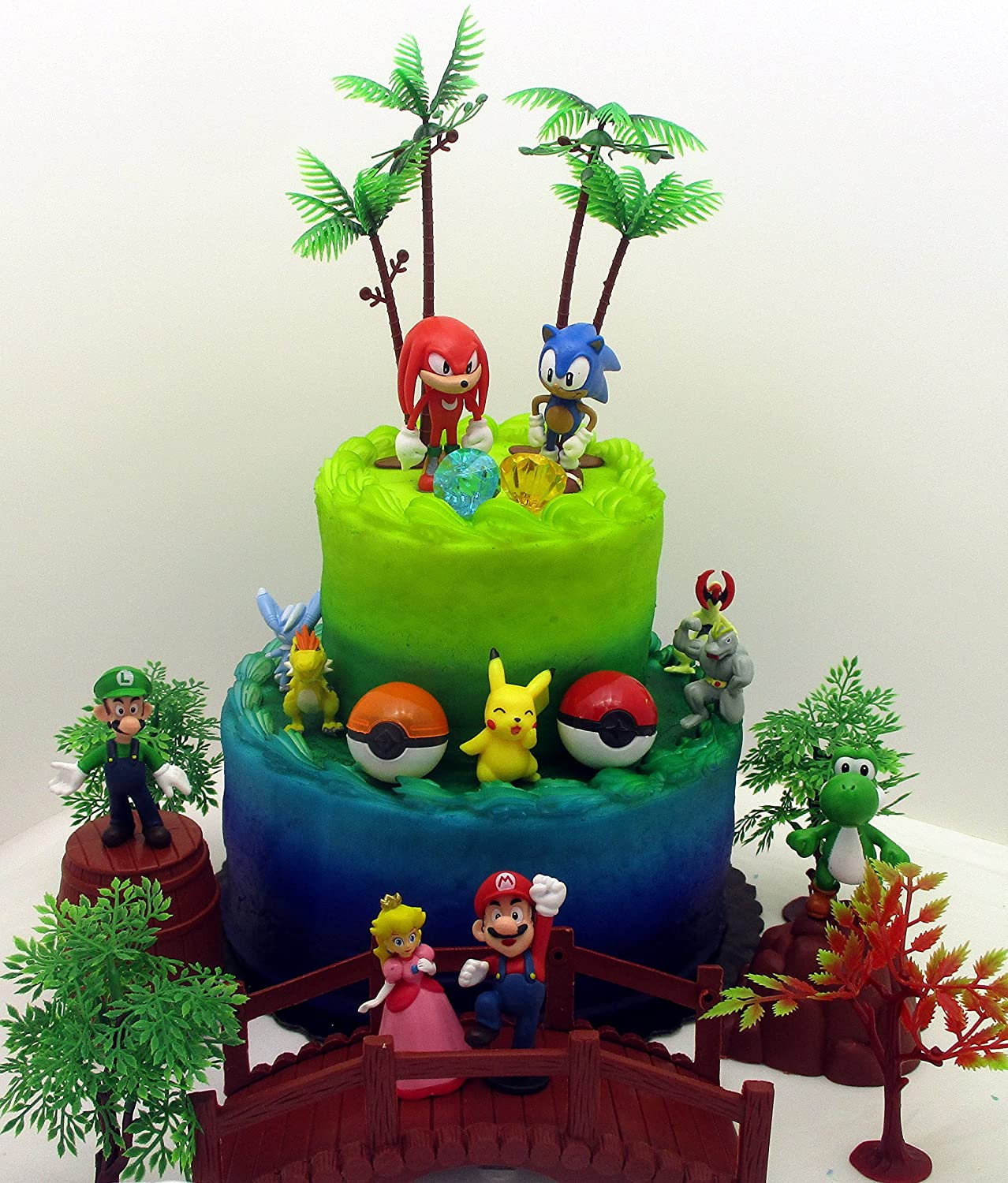 Amazon Com Video Gaming Themed Birthday Cake Topper Set Featuring Random Sonic Figures And Random Mario Brothers Figures And Other Iconic Gaming Characters Toys Games