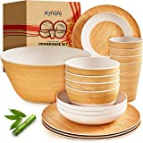 Bamboo Dinnerware Sets for 4 – Nice Quality & Durable w/ Beautiful Bamboo Dishes Plates Decal – Cups, Plates and Bowls Set –