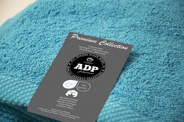 ADP Home - Juego de Toallas 550 Grms 3 Piezas (Toalla Sábana/Baño, Lavabo/Mano, Tocador) 100% Algodón Peinado - Color: Turquesa: Amazon.es: Hogar