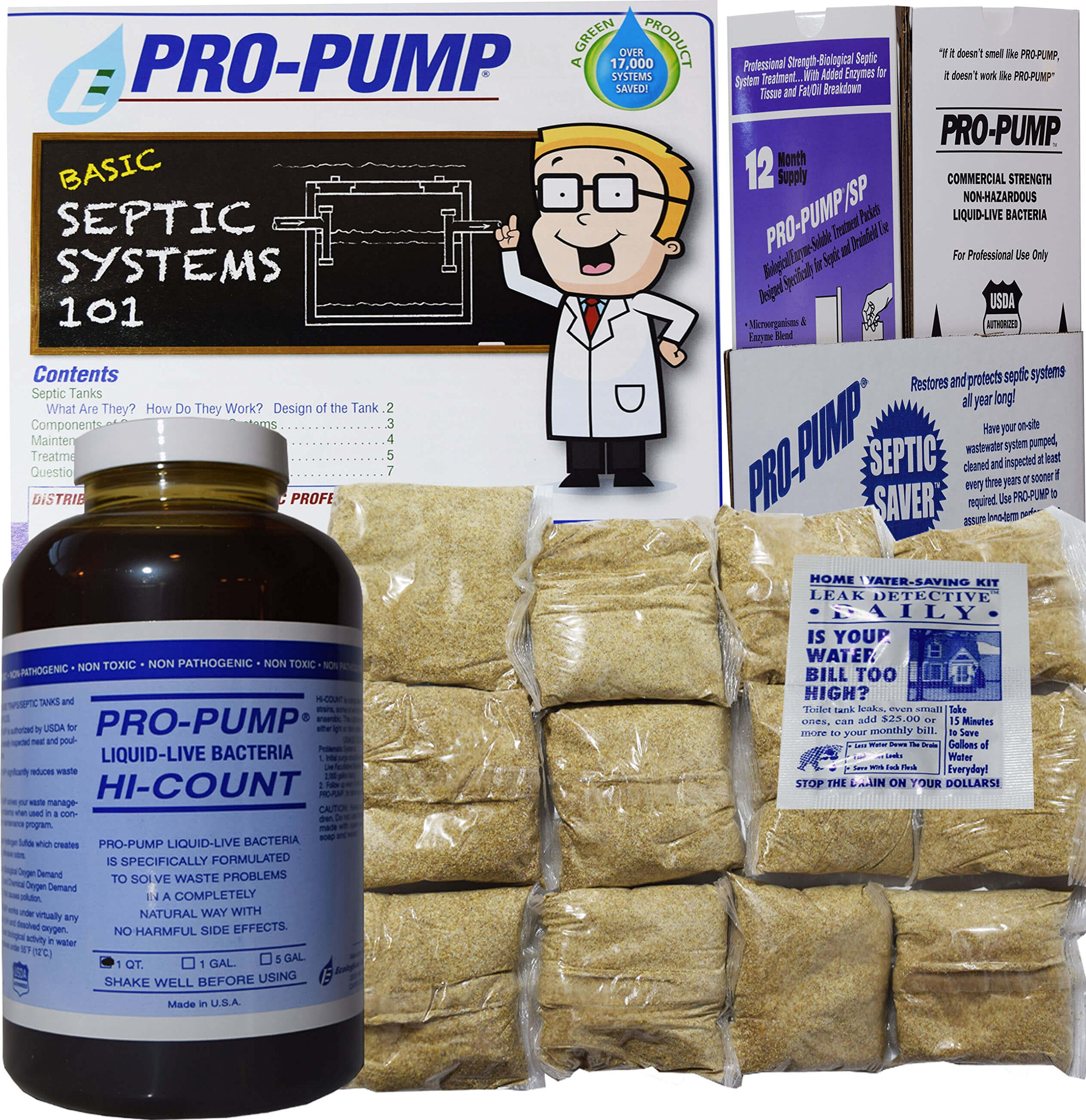 Pro Pump Septic Tank Treatment-1 Year Supply- Upgrade Your System with Flushable Living Bacteria 12 Biodegradable Enzyme Packets and 2 Toilet Leak Detection Tabs. Septic Treatment Made in USA!!