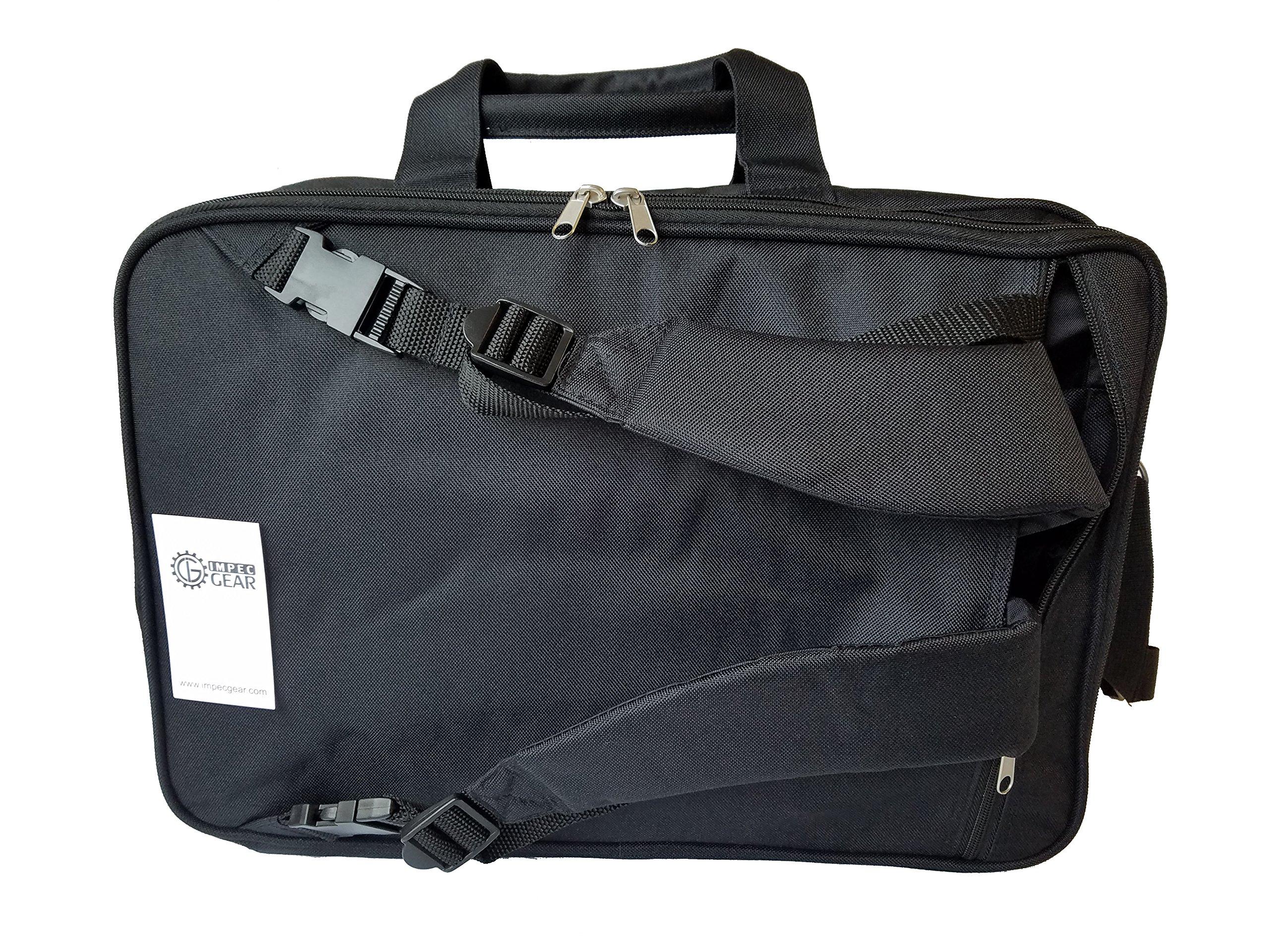 ImpecGear Expandable Laptop Computer Briefcase Messenger Bag 16.5 Inch (Black 2-17.5)