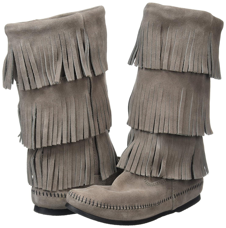 Minnetonka B003C25QTI Women's 3-Layer Fringe Boot B003C25QTI Minnetonka 7 B(M) US|Grey 70b126