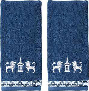 SKL HOME by Saturday Knight Ltd. Vern Yip Chinoiserie Hand Towel Set, Navy 2 Count