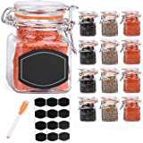 Ultimate Hostess 12 Glass Spice Jars with Spice Labels and Chalkboard Pen. Complete Set: 12 Square Glass Jars 3.4 ounce, Airtight Flip Top Bottles