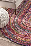 nuLOOM Hand Braided Bohemian Colorful Cotton Oval