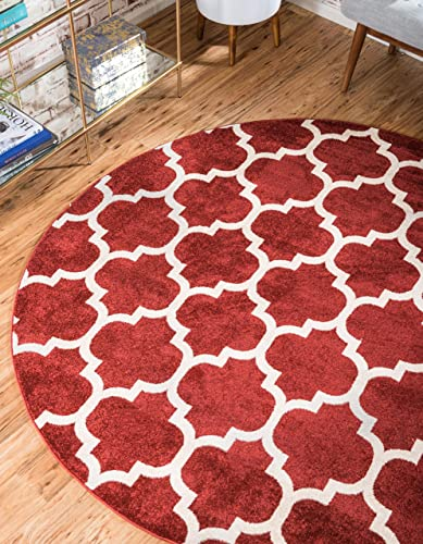 Unique Loom Trellis Collection Moroccan Lattice Red Round Rug 8 0 x 8 0