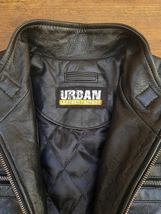 Urban Herren Echtes Schafsfell Lederjacke Biker Schwarz Premium Trendy Designer