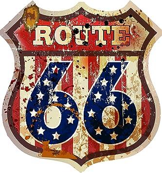 Etaia 14x15 Cm Auto Aufkleber Wappen Route 66 Usa Amerika Vintage Retro Old School Motorcycles Sticker Motorrad Caravan Truck Auto