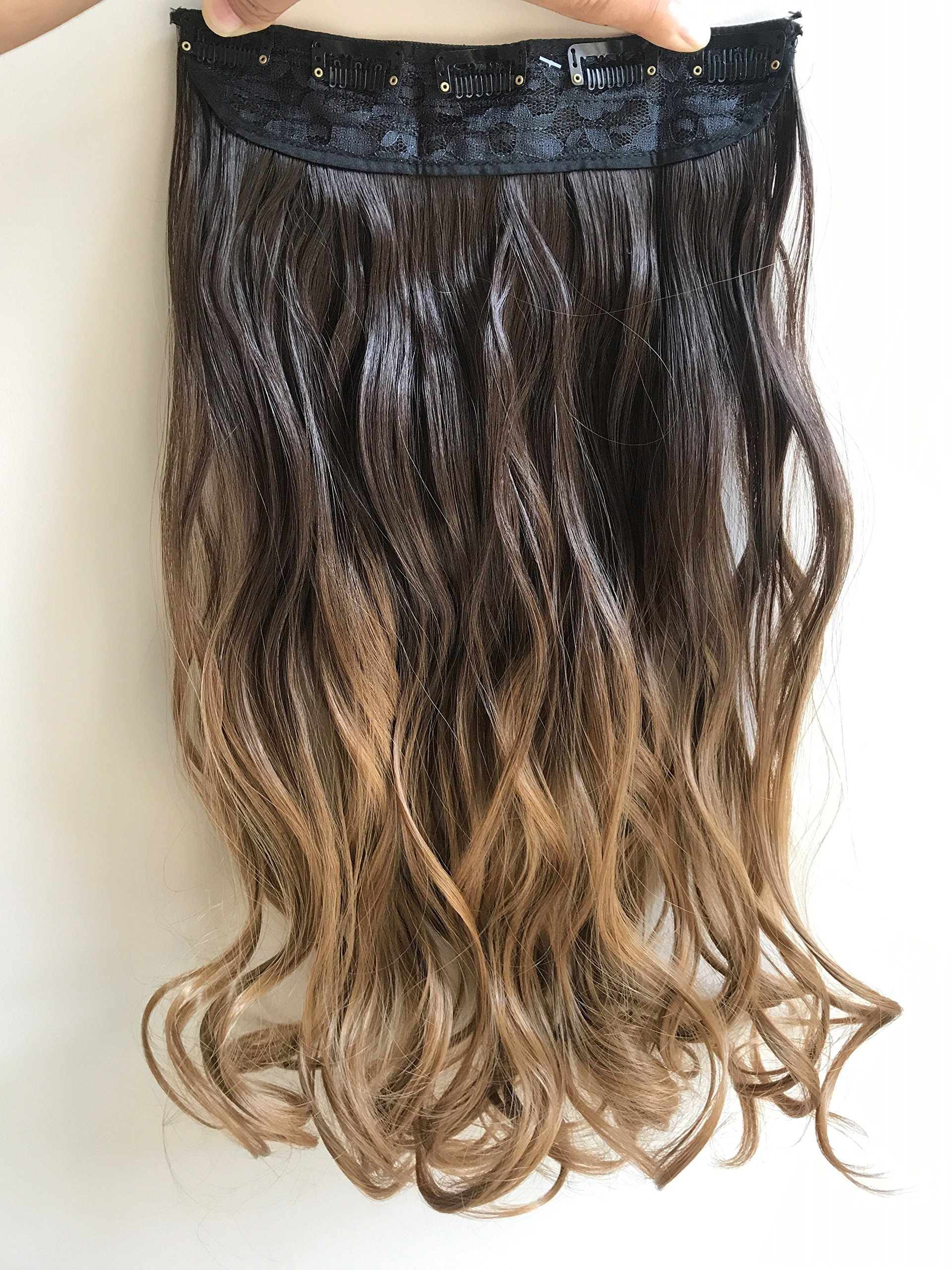20 Inches 3/4 Full Head Clip in Hair Extensions Ombre One Piece 2 Tones Wavy Curly (dark brown to dark blonde) by DevaLook Hair Extensions (Image #1)