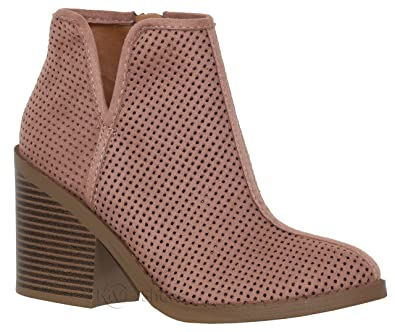 de9aa15d3f Amazon.com | Soda Womens Target Perforated Stacked Block Heel Ankle ...