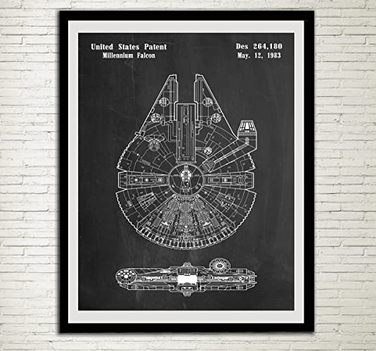Awesome Star Wars Patent Home Office Decor Star Wars SpaceCraft Art Prints  Millennium Falcon Wall Art Hanging