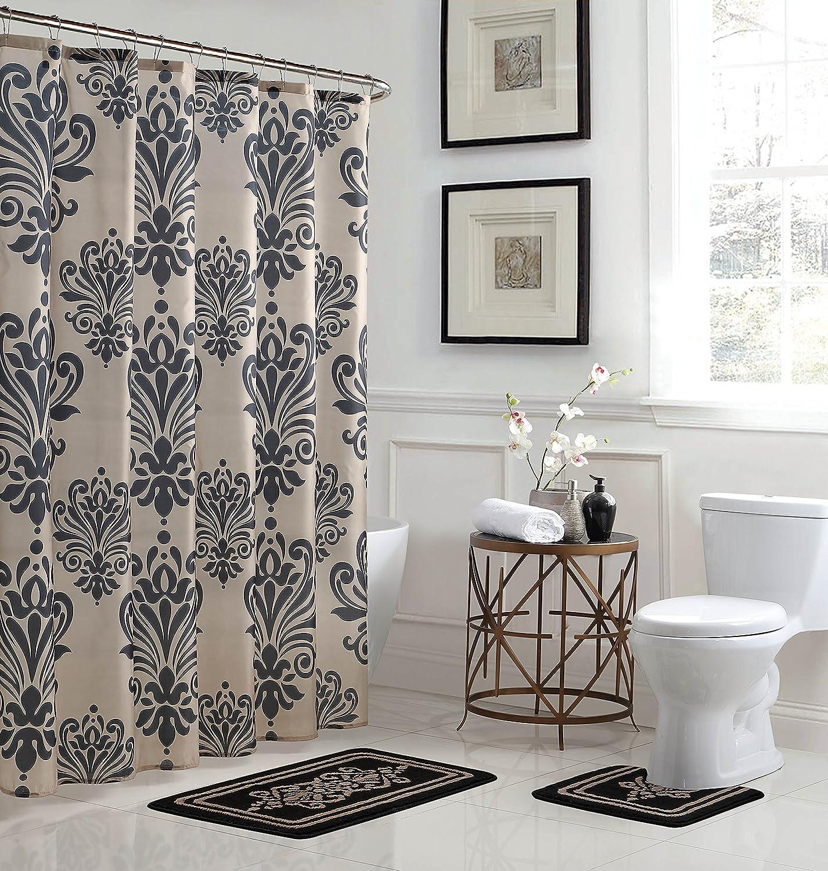 Amazon Com Bath Fusion Revelry Damask 15 Piece Bathroom Shower Set Home Kitchen
