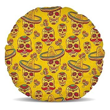 Amazon.com: Mexican Sugar Skulls en oro forro polar – Cojín ...