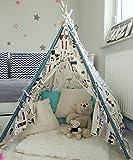 Amazinggirl Tipi Spielzelt für Kinder Zelt Stoffzelt Kinderzelt mit Fenster Holzstangen Indianerzelt Spielhaus