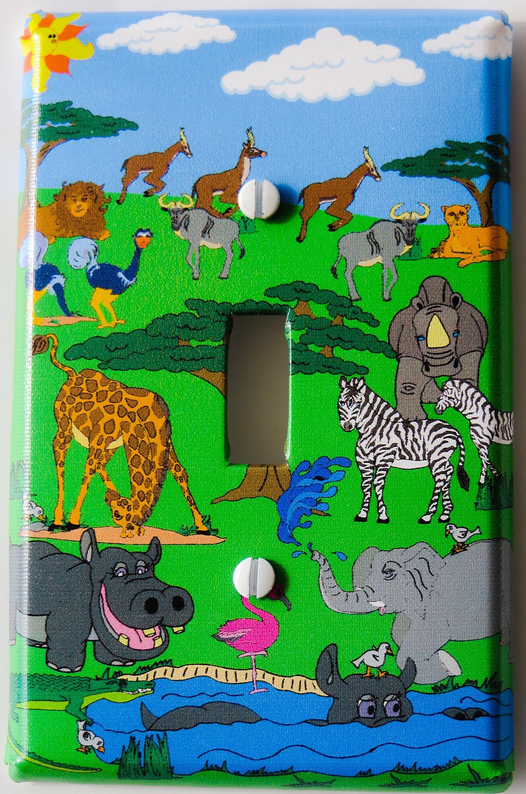 Animals Safari Light Switch Plate Cover/ Single Toggle / Safari Wall Decor with Zebras, Giraffes, Hippos, Elephants, Flamingo, Giselle, and Water Buffalo