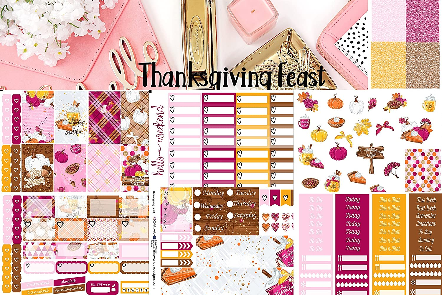 Planner sticker kit Thanksgiving Feast, 7 sheets included. Choose your planner size. Matte sticker paper, kiss cut.