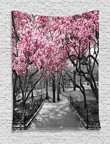 Ambesonne NYC Tapestry, Blossoms in Central Park Landscape with Cherry Trees Forest in Spring Season Picture, Wall Hanging for Bedroom Living Room Dorm Decor, 40 X 60 , Magenta Grey